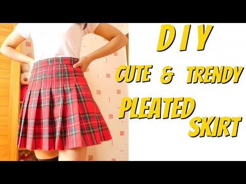 DIY Harajuku Skirt || How to Make a Pleated Skirt || DIY Tennis Pleated Skirt Tutorial