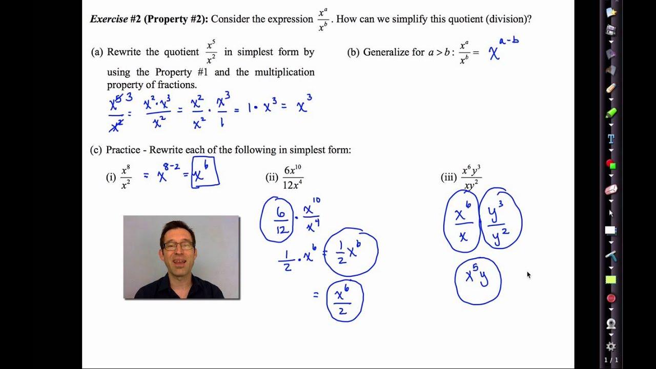 Common Core Algebra II Unit 8 Lesson 3 The Basic Exponent Properties