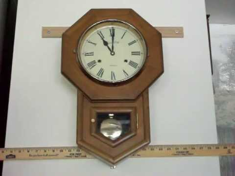 Montgomery Wards Chime Schoolhouse Wall Clock Youtube