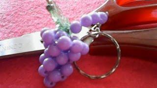 DIY-how to make wine key chain of beads,cara membuat gantungan kunci anggur