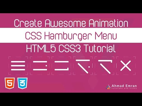 Awesome Animation CSS Hamburger Menu  - HTML5 CSS3 Tutorial thumbnail