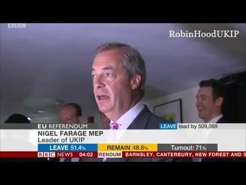 Nigel Farage claims it is a tight victory for Brexit