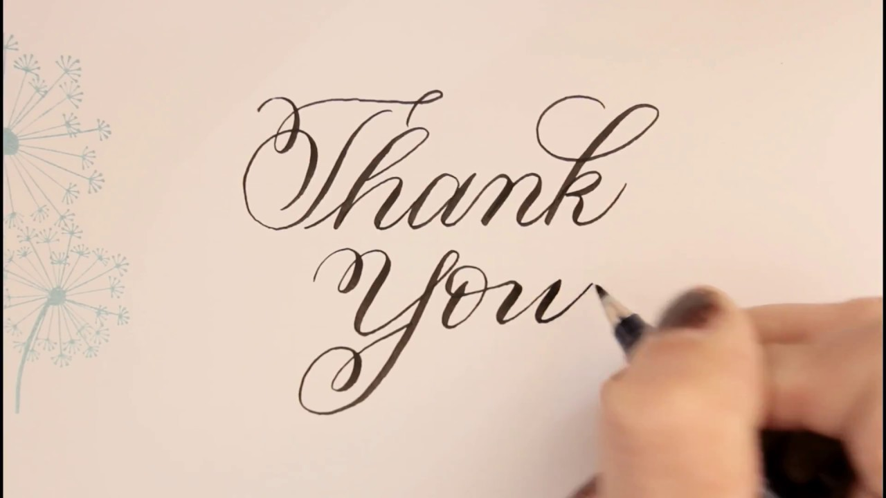 calligraphy fancy letters - how to write Thank you - for beginners