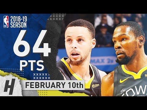 Stephen Curry & Kevin Durant CLUTCH Highlights Warriors vs Heat 2019.02.10 - 64 Pts Combined!