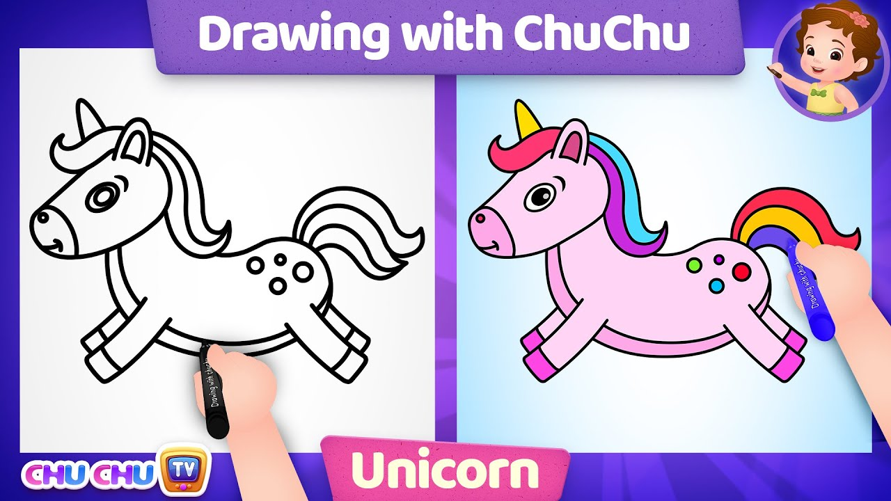How to Draw a Unicorn? - Drawing with ChuChu - ChuChu TV Drawing for Kids Easy Step by Step