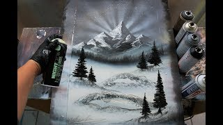 The Misty Mountains - SPRAY PAINT ART by Skech