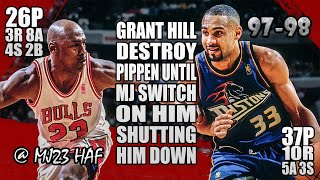 Michael Jordan vs Grant Hill Highlights (1998.03.31)-63pts Combine! Pip Got Roasted but MJ Steps Up!