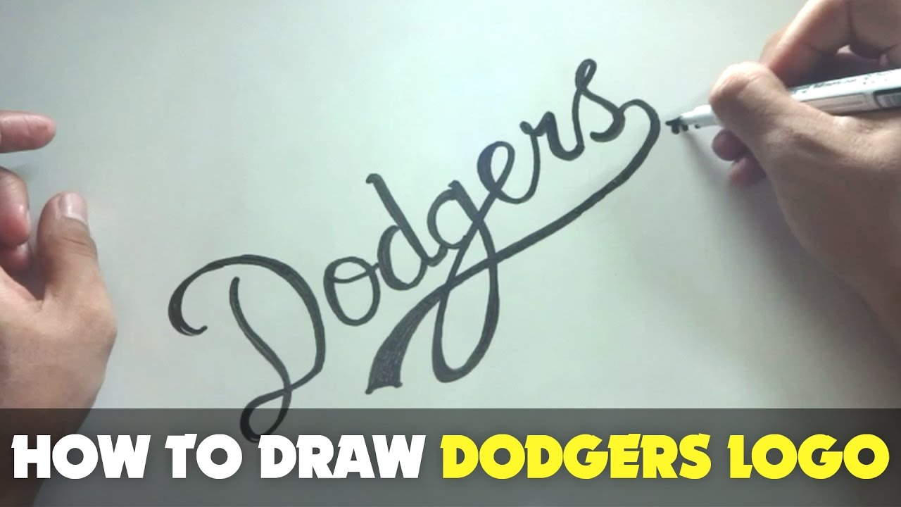 How To Draw A Cartoon Dodgers Logo Tutorial Step By Step Youtube