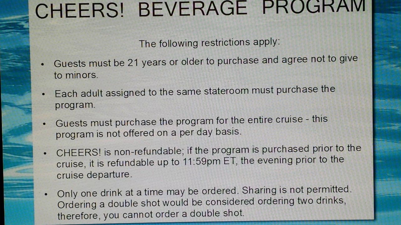 Drink Package On Board Carnival Cruise Cheers Youtube