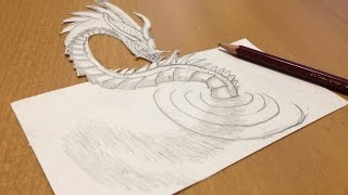 Pencil Drawing a 3D Loch Ness Monster - Anamorphic illusion