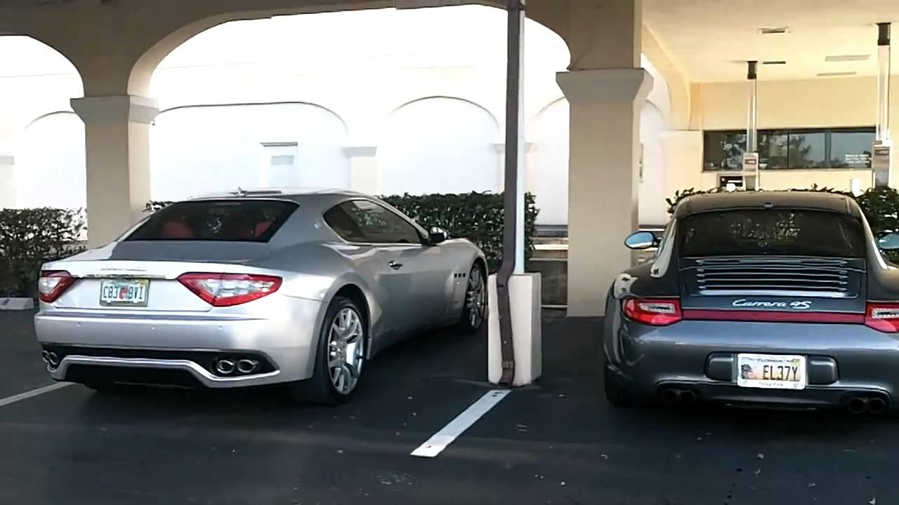Hd Silver Maserati Granturismo And Porsche 911 997