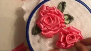 Роза вышитая атласными лентами (способ 2)