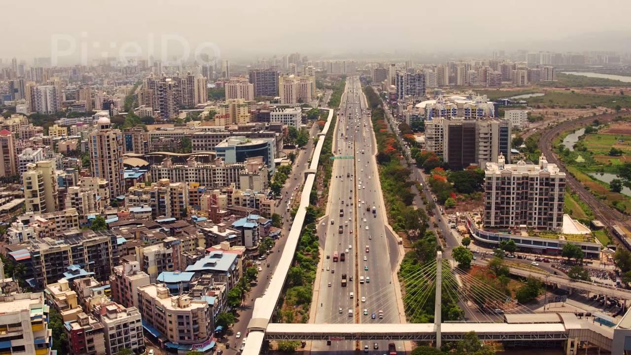 Mumbai Pune Highway Aerial Stock Footage - YouTube