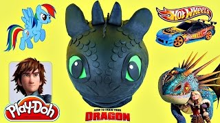 PLAY DOH TOOTHLESS Giant Surprise Egg My Little Pony Cars Minecraft Shopkins LEGO Spiderman Toys
