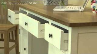 Cotswold Cream Painted Shaker Solid Oak Compact Computer Desk From Oak Furniture Land