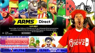 LIVE REACTION!!!!! ARMS NINTENDO DIRECT 5.17.17!!!! NINTENDO SWITCH HYPE!!!!