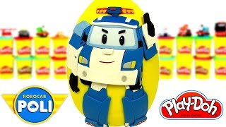 Гигантское Робокар Поли Яйцо с Сюрпризом Плей До! Робокар Поли, Робокар Рой Игрушки Сюрпризы
