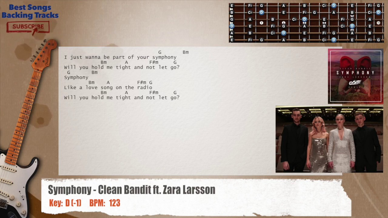 Symphony clean bandit ft zara larsson guitar backing track with zara larsson guitar backing track with chords and lyrics hexwebz Gallery