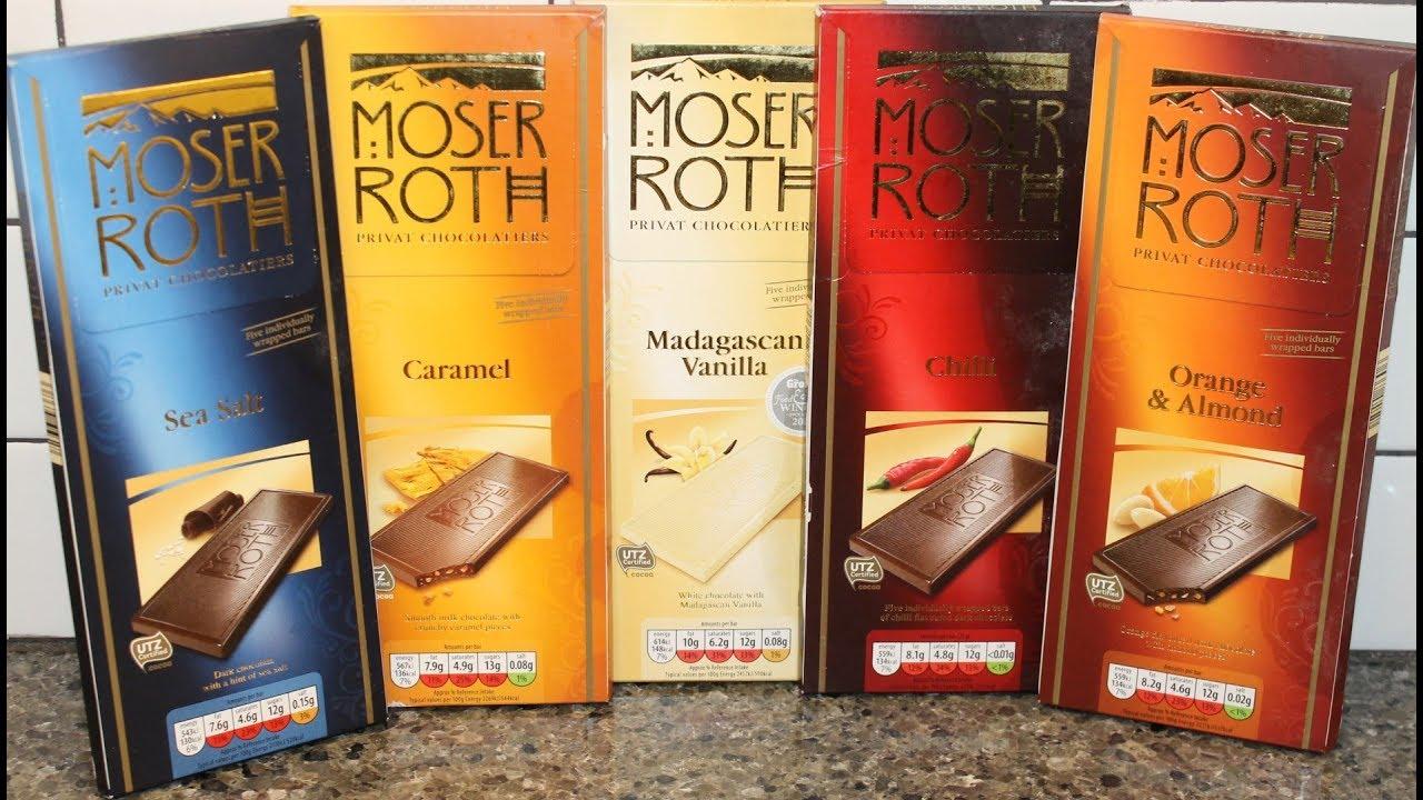 Moser Roth Sea Salt Caramel Madagascan Vanilla Chilli Orange Almond Candy Bar Review