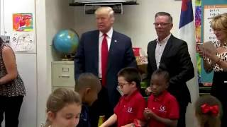 EXCLUSIVE Donald Trump Visits School In Las Vegas, Nevada - FNN