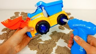 Construction Bulldozer Dump Excavator Truck Toy with Drill and Tools! Building a Toy Truck Playset