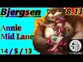 Bjergsen as Annie Mid Lane - S8 Patch 8.13 - NA Challenger - Full Gameplay