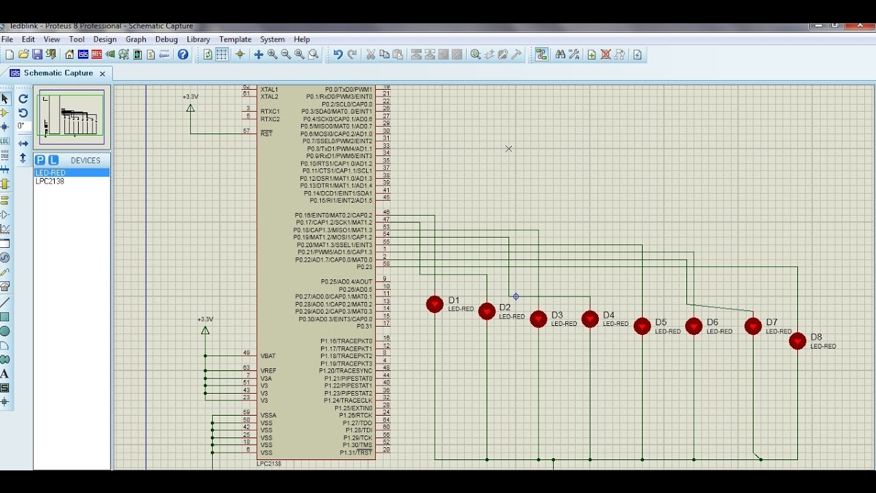 LPC2138/48 code for Led blinking, simulation in proteus 8 | Embedded  Processor