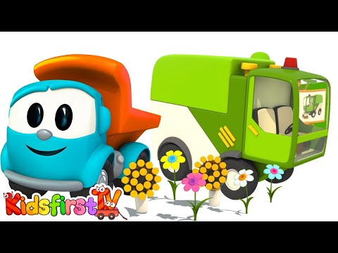 Toy Truck Cartoons: LEO Junior's 3D STREET SWEEPER Construction Cartoons!
