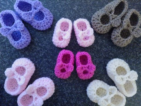 My Easy Crochet Premature Baby Mary Jane Ballerina Slipper With Bows (2 inch)