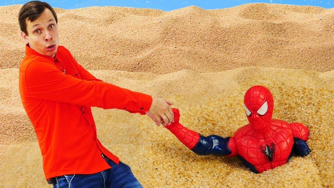 Автобот Бамблби спасает Человека Паука! -  Трансформеры в играх для мальчиков. Видео с супергероями.