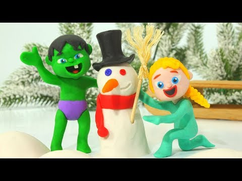 Superhero Babies Make A Snowman ❤ Play Doh Cartoons w/ Frozen Elsa & Hulk Stop Motion Movies