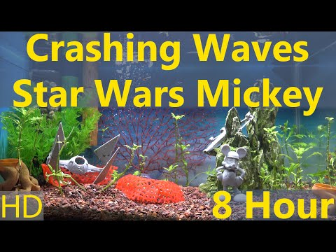 Crashing Waves Sounds with Star Wars Mickey 8 Hour 1080p HD