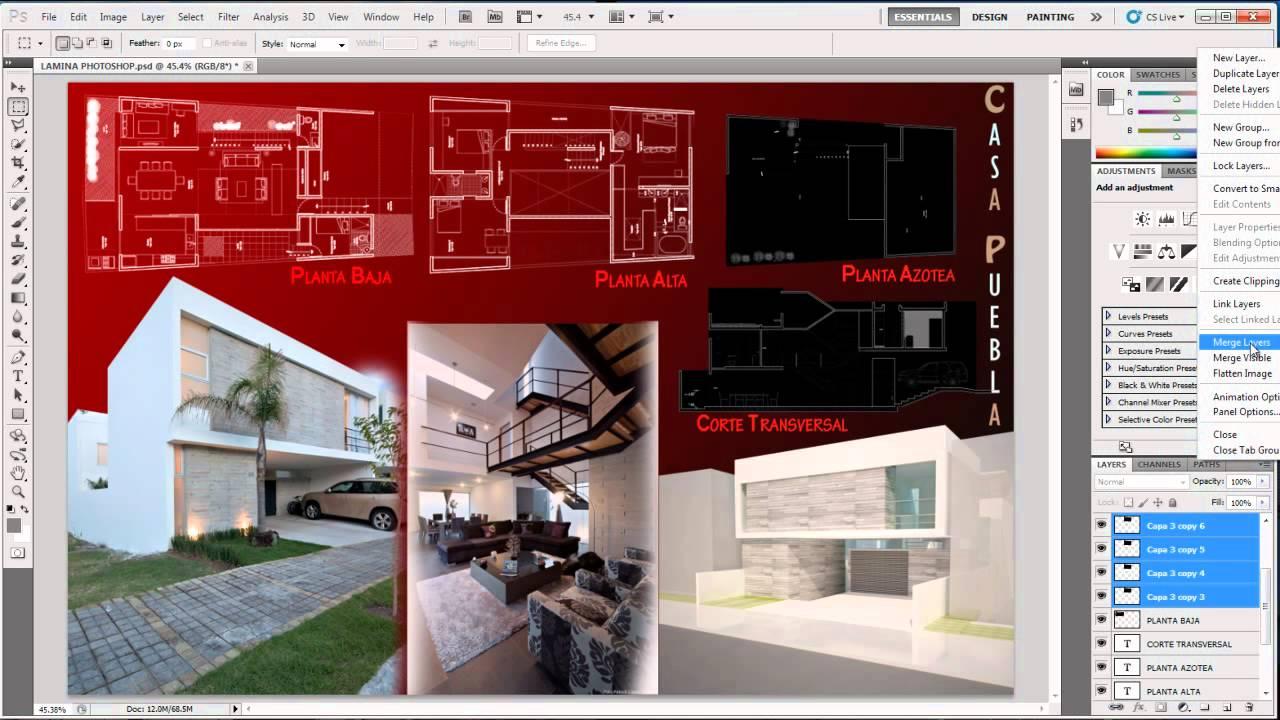 01 photoshop para arquitectos blending modes youtube for Programas de 3d para arquitectos