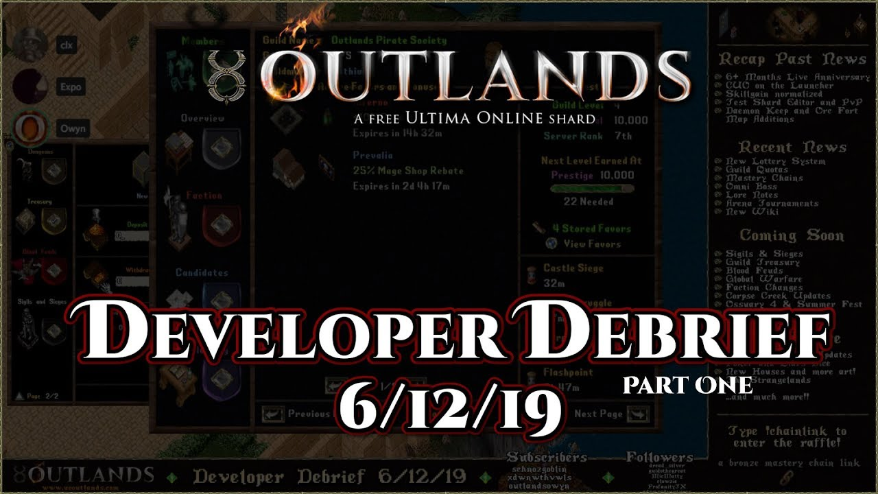 Developer Debrief 6/14/19 (Part 2) - Recent News, Coming Soon and the  Future [UO Outlands]