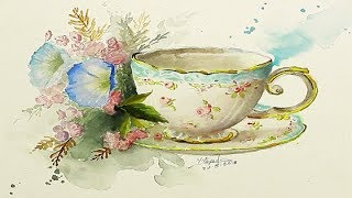 Watercolor Painting Tea Cup With Flowers By Yasser Fayad