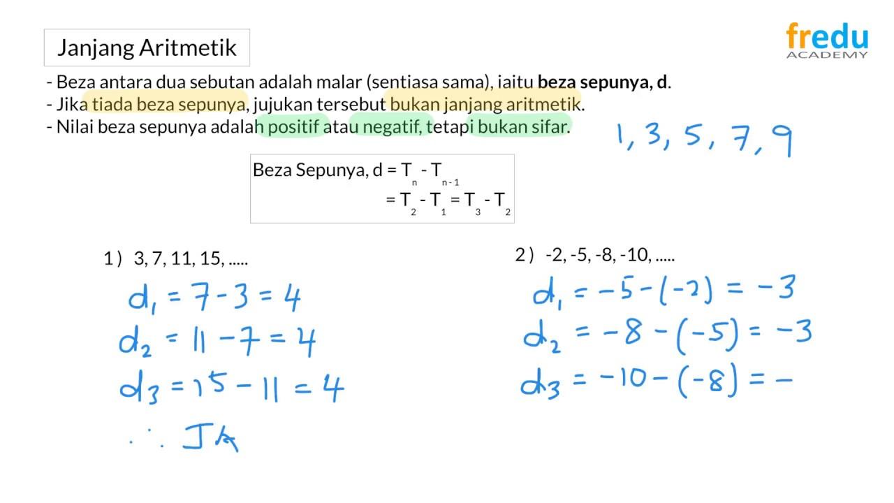 1 1 Janjang Aritmetik Matematik Tambahan Tingkatan 5 Youtube