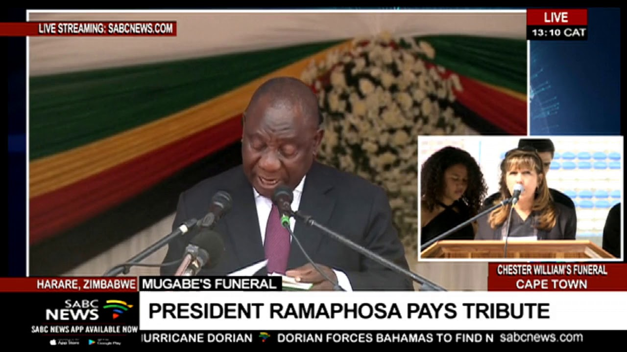 President Cyril Ramaphosa of South Africa speaks at the Mugabe funeral