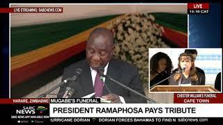 President Cyril Ramaphosa speaks at the Mugabe funeral