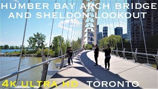 Humber Bay Arch bridge and Sheldon Lookout [walking tour 4k]