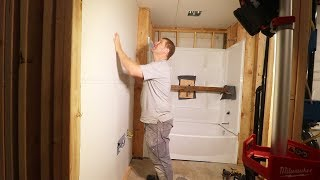 OUR FIRST REAL ROOM! (Drywalling Garage Bathroom)