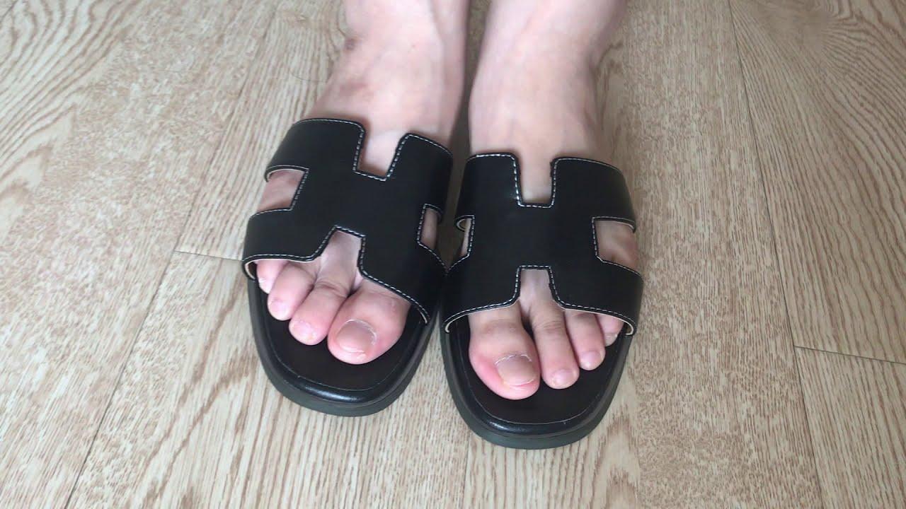 HERMES ORAN SANDAL BLACK On Foot Review