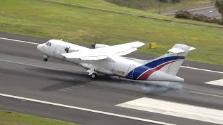 BIG BOUNCE LANDING Almost TAIL STRIKE ATR 42-300 at Madeira Airport