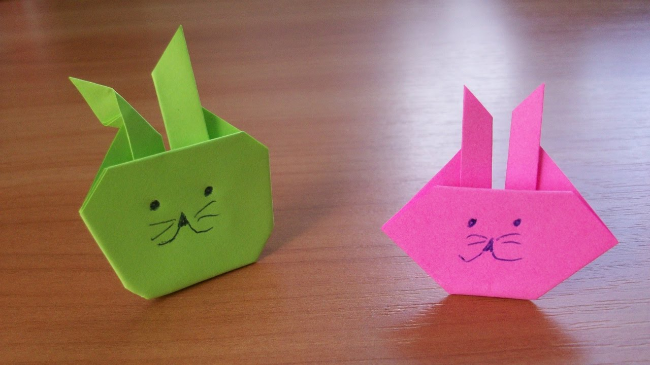super easy origami bunny rabbit easter paper crafts for