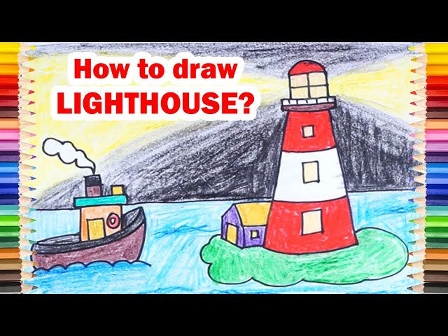 Draw the LIGHTHOUSE and BOAT Step by Step ! How to Draw Lighthouse Easy