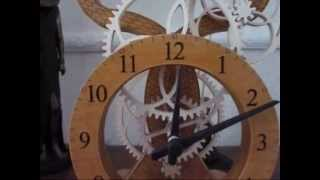 Battery Operated Electromechanical Wooden Geared Clock