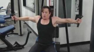 female bodybuilder ifpa personal trainer justine dohring chest flys