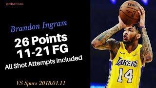 Brandon Ingram 26 Points, 11-21 FG all shot attempts included 201.01.11 vs Spurs Future!!
