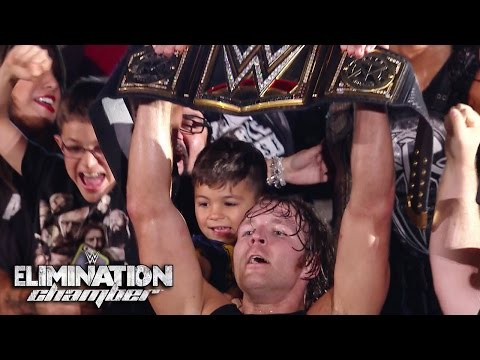 WWE Network: Dean Ambrose walks off with the title: WWE Elimination Chamber 2015