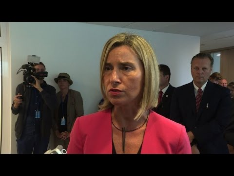 Mogherini: US, Russia must ensure Syria ceasefire before EU aid