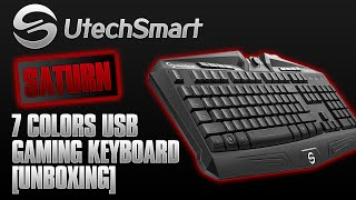 utechsmart saturn 7 colors backlit usb multimedia gaming keyboard unboxing